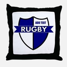 Rugby Shield White Blue Throw Pillow