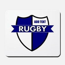 Rugby Shield White Blue Mousepad