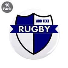 """Rugby Shield White Blue 3.5"""" Button (10 pack)"""