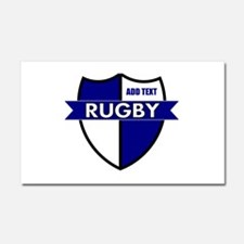 Rugby Shield White Blue Car Magnet 20 x 12