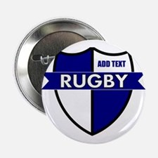 "Rugby Shield White Blue 2.25"" Button"