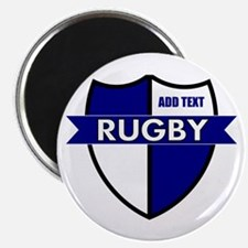 Rugby Shield White Blue Magnet