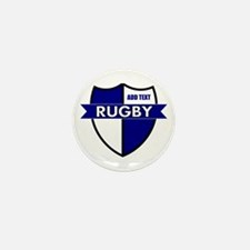 Rugby Shield White Blue Mini Button (10 pack)