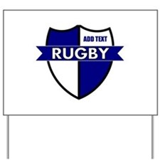 Rugby Shield White Blue Yard Sign
