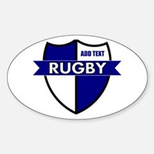 Rugby Shield White Blue Sticker (Oval)