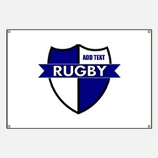 Rugby Shield White Blue Banner