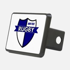 Rugby Shield White Blue Hitch Cover