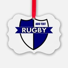 Rugby Shield White Blue Ornament