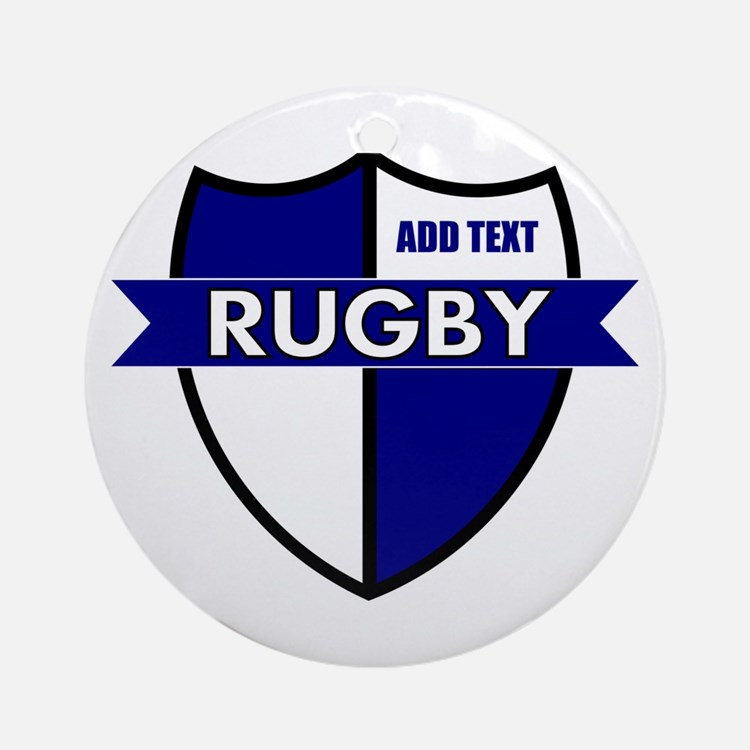 Rugby Shield White Blue Ornament (Round)