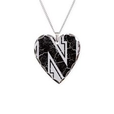 Letter N in black vintage loo Necklace
