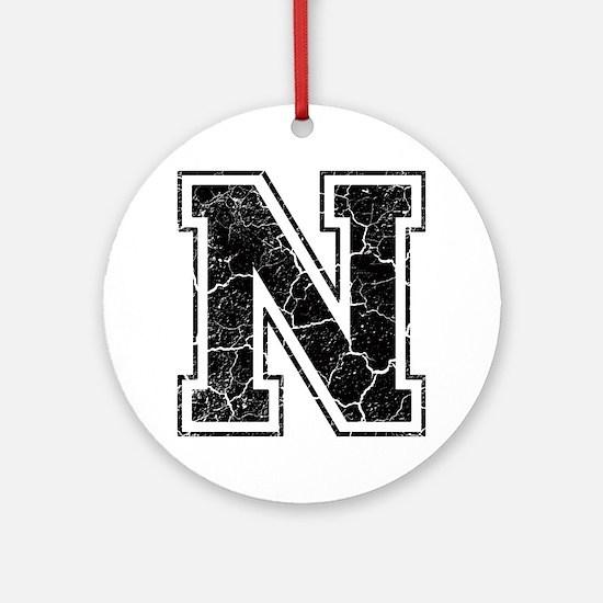 Letter N in black vintage look Round Ornament