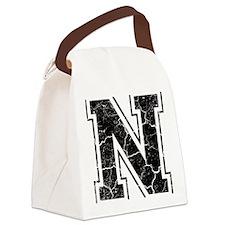 Letter N in black vintage look Canvas Lunch Bag