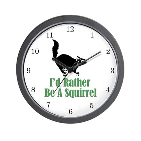 Rather Be A Squirrel Wall Clock (w/numbers)
