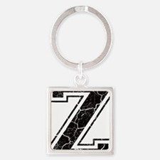 Letter Z in black vintage look Square Keychain
