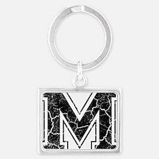 Letter M in black vintage look Landscape Keychain