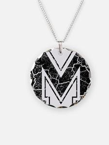 Letter M in black vintage lo Necklace