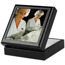 Female technicians counting pills int Keepsake Box