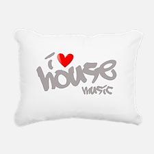 I Love House Music Rectangular Canvas Pillow