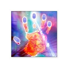 "Hand biometrics Square Sticker 3"" x 3"""