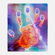 Hand biometrics Throw Blanket