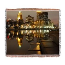Downtown Providence At Night Woven Blanket