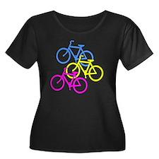 Bicycles Women's Plus Size Dark Scoop Neck T-Shirt