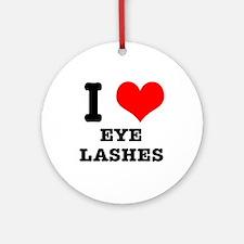 I Heart (Love) Eyelashes Ornament (Round)