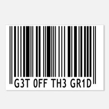 Get off the Grid barcode Postcards (Package of 8)