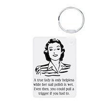 Defenseless Lady Funny T-S Aluminum Photo Keychain