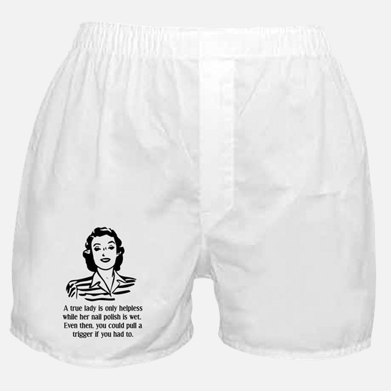 Defenseless Lady Funny T-Shirt Boxer Shorts