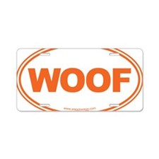 WOOF! Orange Aluminum License Plate