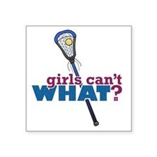 "Lacrosse Stick Blue Square Sticker 3"" x 3"""