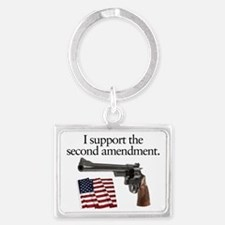 Support the second amendment Landscape Keychain