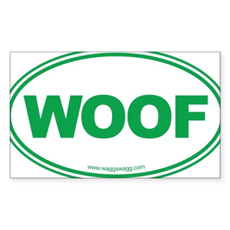 WOOF! Green Sticker (Rectangle)