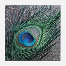Sparkly Black Peacock Tile Coaster