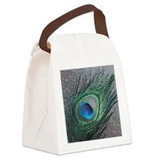 Sparkly Black Peacock Canvas Lunch Bag