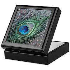 Sparkly Black Peacock Keepsake Box