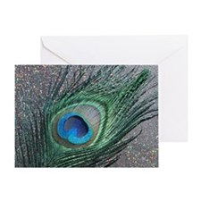 Sparkly Black Peacock Greeting Card