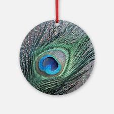 Sparkly Black Peacock Round Ornament