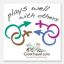 """Plays Well with Others 1 Square Car Magnet 3"""" x 3"""""""