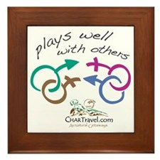 Plays Well with Others 10x10 dark colo Framed Tile
