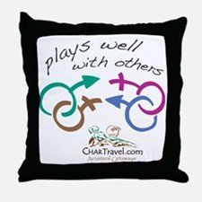 Plays Well with Others 10x10 dark col Throw Pillow