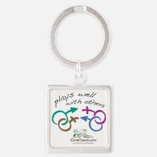 Plays Well with Others 10x10 dark  Square Keychain