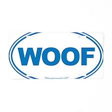 WOOF! Blue Aluminum License Plate