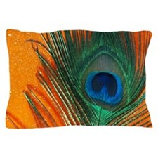 peacock with sparkly orange Pillow Case