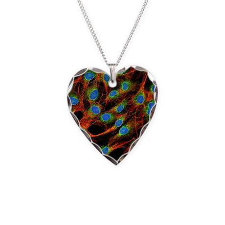 Fibroblast cells Necklace Heart Charm