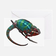 red and blue panther chameleon Greeting Card