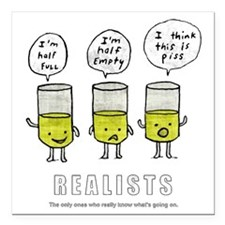 """Realist and the two idio Square Car Magnet 3"""" x 3"""""""