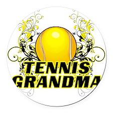 Tennis Grandma (cross) Round Car Magnet