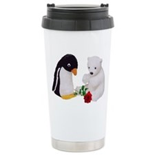 Penguin Polar Bear Rose Travel Coffee Mug